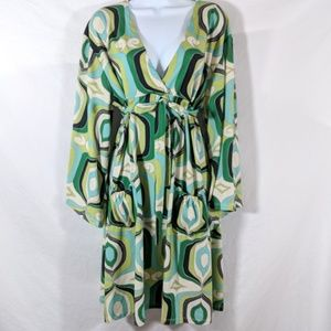 Wendy Glez for Anthropologie green print dress